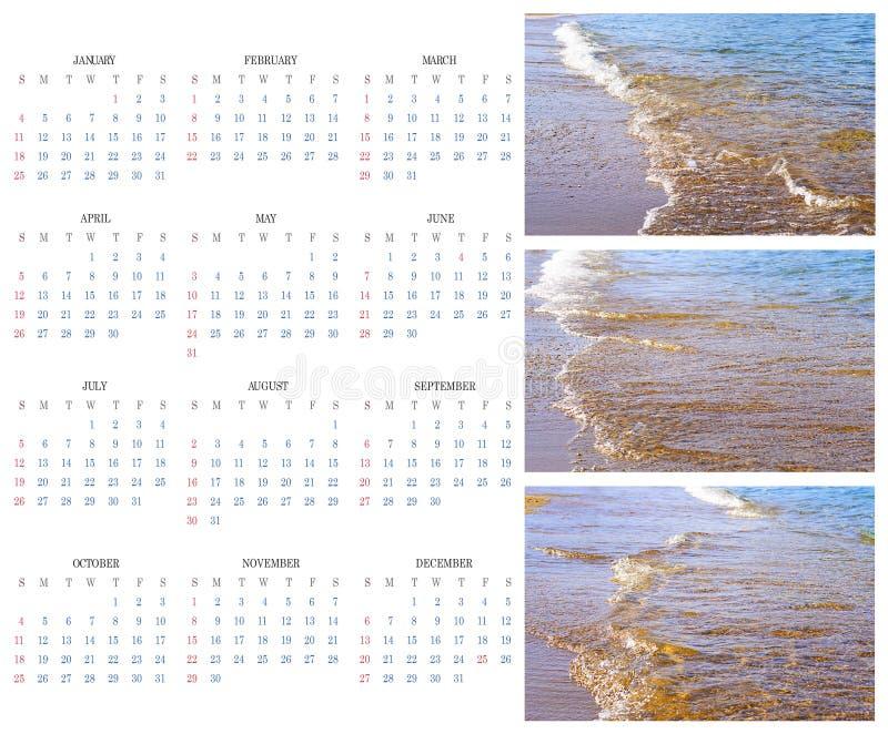 Календарь 2015 на предпосылке моря, Солнце, пляже стоковое фото