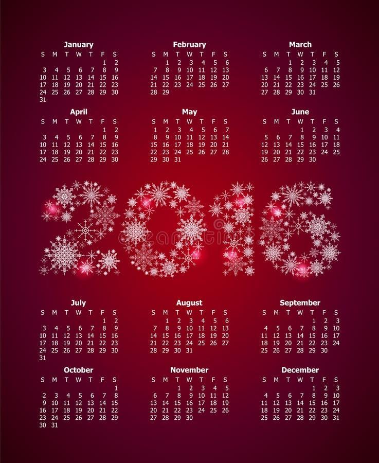 Календарь на 2016 с большими количествами от снежинок иллюстрация вектора