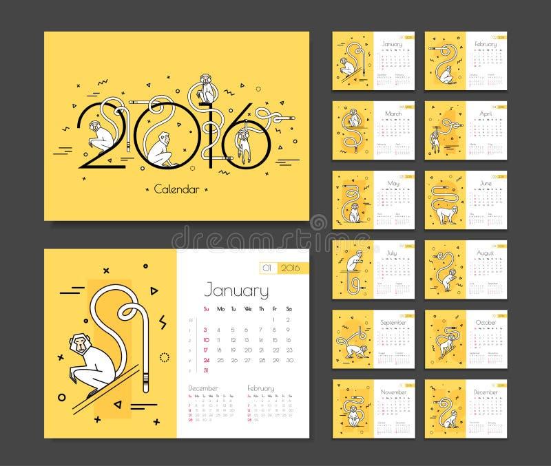 Календарь на 2016 с обезьянами бесплатная иллюстрация
