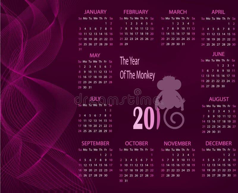 Календарь на 2016 с обезьяной на фиолетовой предпосылке бесплатная иллюстрация