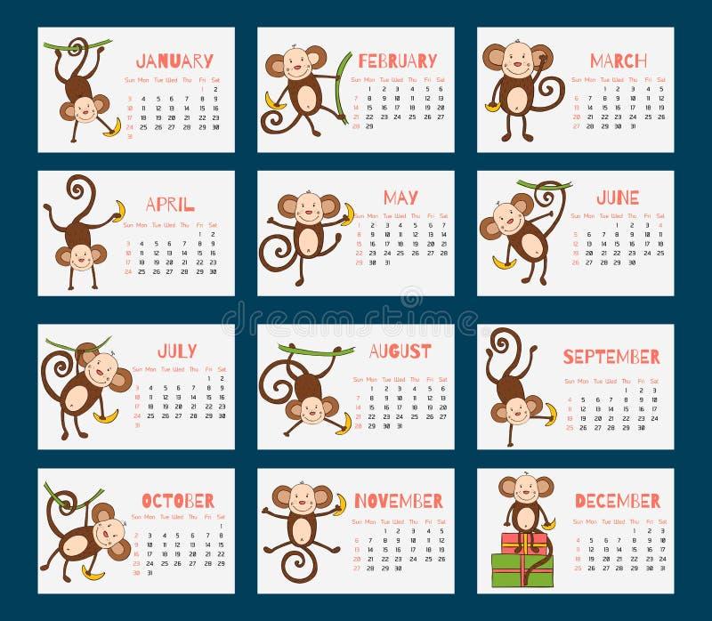 Календарь на 2016 с смешными обезьянами иллюстрация штока