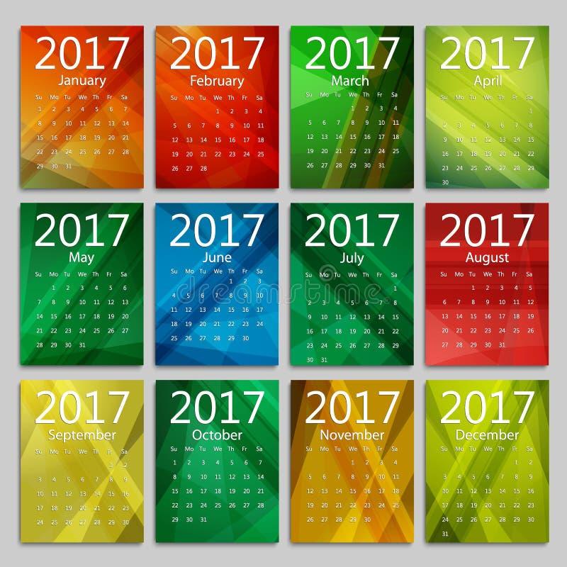 Календарь на 2017 С января до декабря стоковые изображения