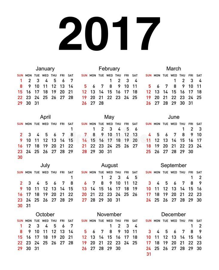 Календарь на 2017 иллюстрация штока