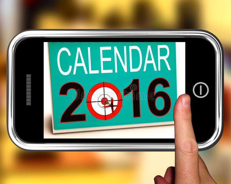Календарь 2016 на Smartphone показывает будущий календарь иллюстрация вектора