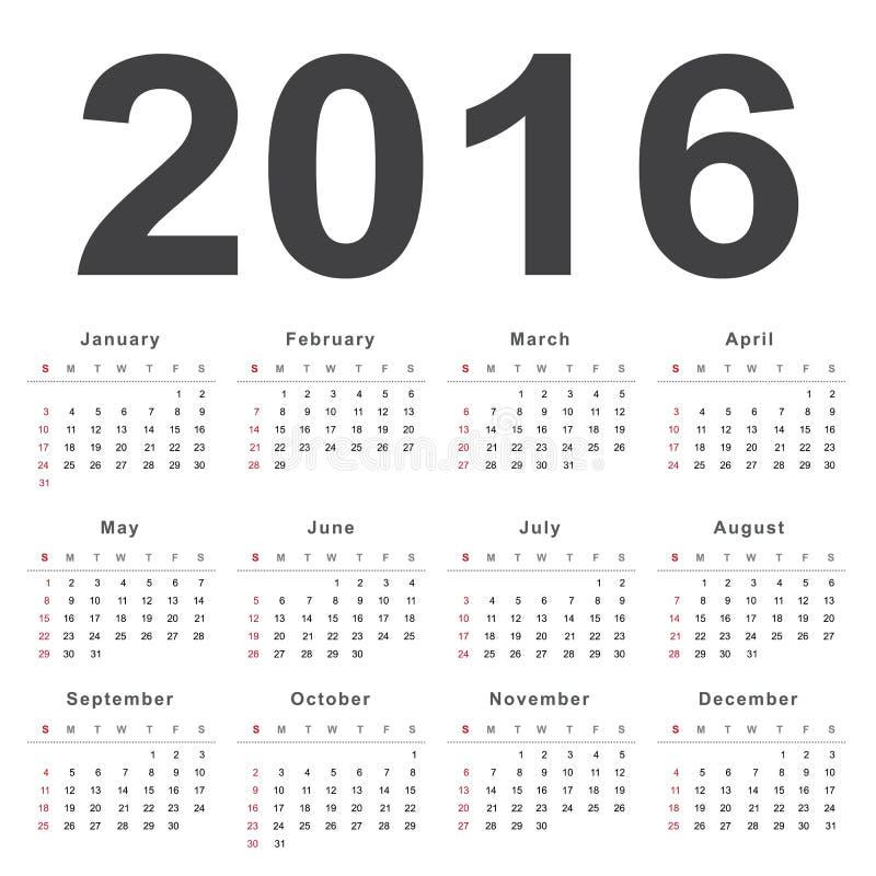Календарь 2016 Неделя начинает от воскресенья иллюстрация вектора