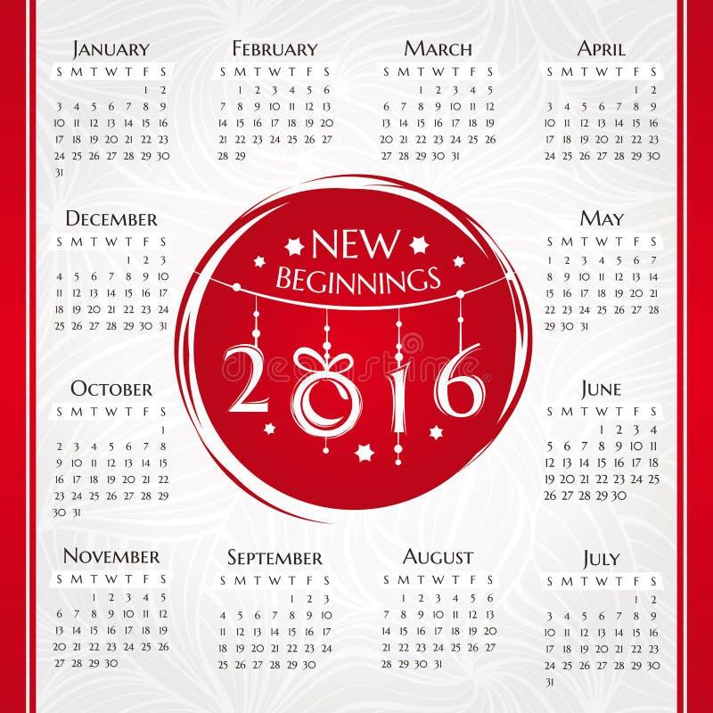 Календарь 2016 Новых Годов бесплатная иллюстрация