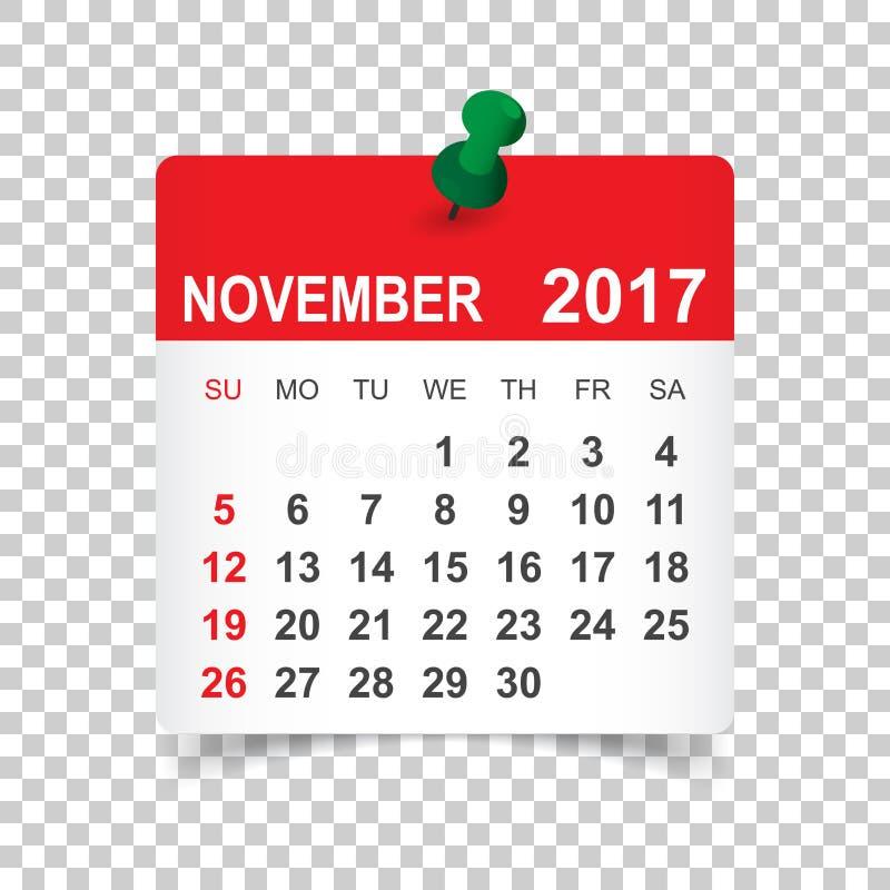 Календарь ноября 2017 иллюстрация штока