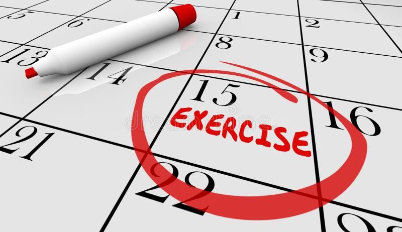 Календарь дня класса разминки план-графика фитнеса тренировки бесплатная иллюстрация