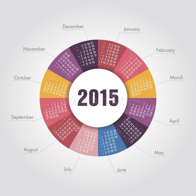 Календарь округлая форма 2015 год иллюстрация штока