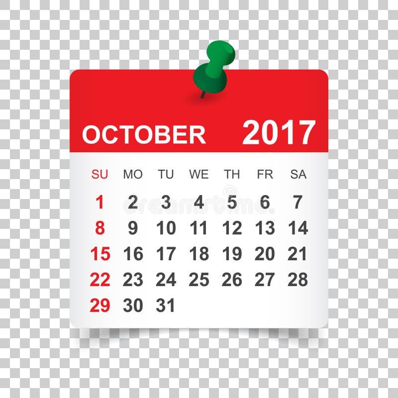 Календарь октября 2017 бесплатная иллюстрация