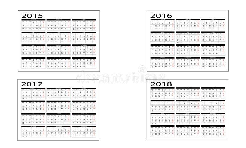 Календарь 2015 до 2018 бесплатная иллюстрация