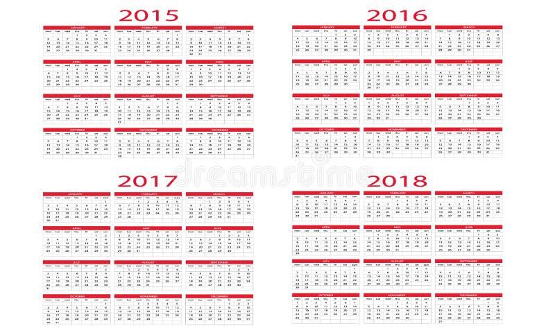 Календарь 2015 до 2018 иллюстрация вектора