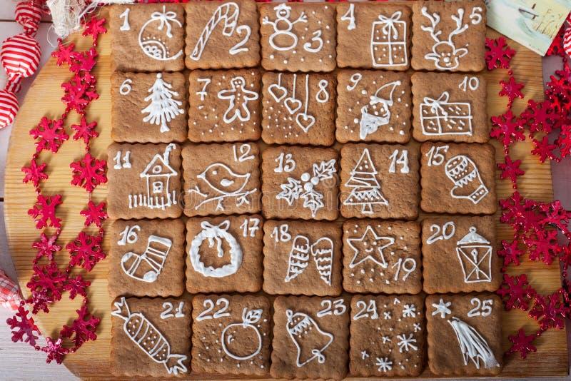 Календарь пришествия, печенья рождества стоковые изображения rf
