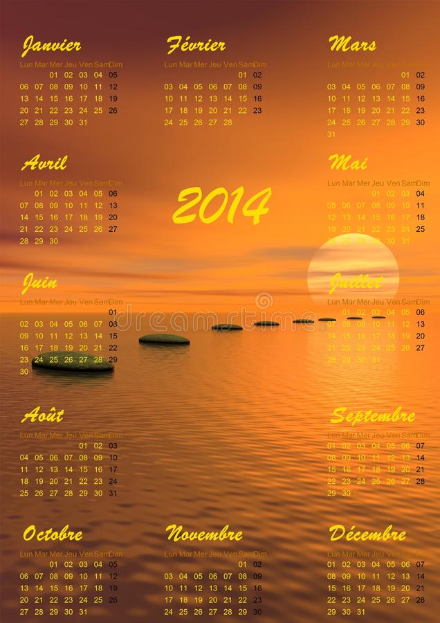 Календарь раздумья 2014 - 3D представляют иллюстрация штока