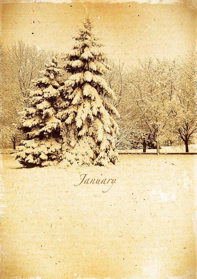 Календарь ретро. Январь. Винтажный ландшафт зимы. стоковые фотографии rf