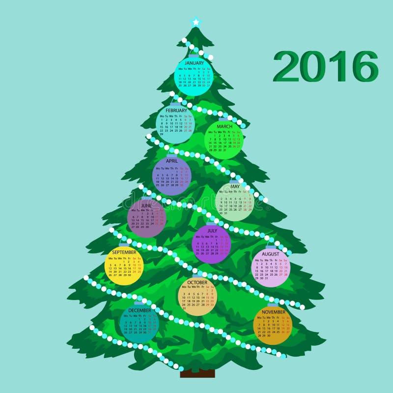 Календарь рождественской елки 2016 Новых Годов иллюстрация вектора