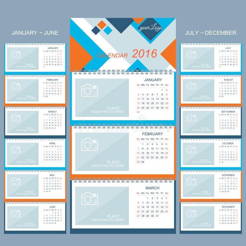 Календарь стены 2016 лет Vector шаблон дизайна с местом для вашего фото иллюстрация вектора