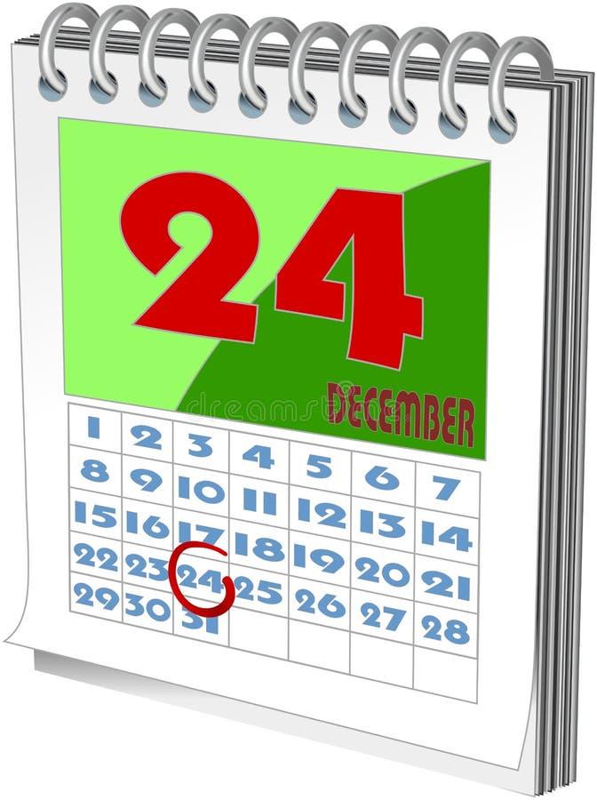 Календарь стены при отмеченное Рождество иллюстрация штока