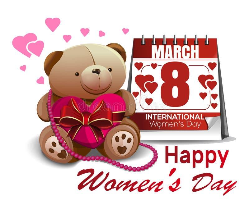 Календарь с датой 8-ое марта, милым плюшевым медвежонком, поздравлениями на Международный женский день Праздник женщин бесплатная иллюстрация