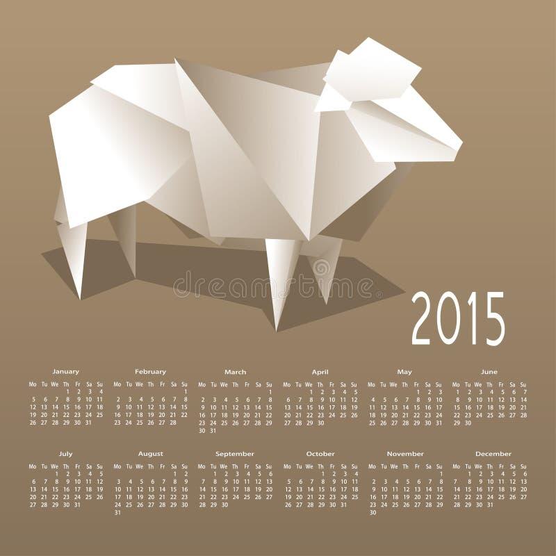 Календарь 2015 с бумажной овцой иллюстрация вектора