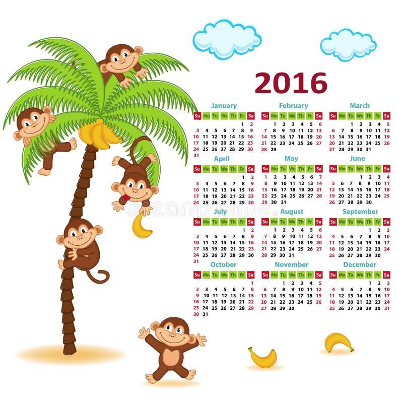 Календарь с обезьянами на ладони 2016 иллюстрация вектора