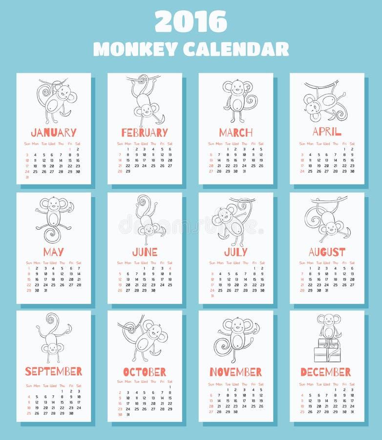 Календарь с обезьянами на 2016 иллюстрация вектора