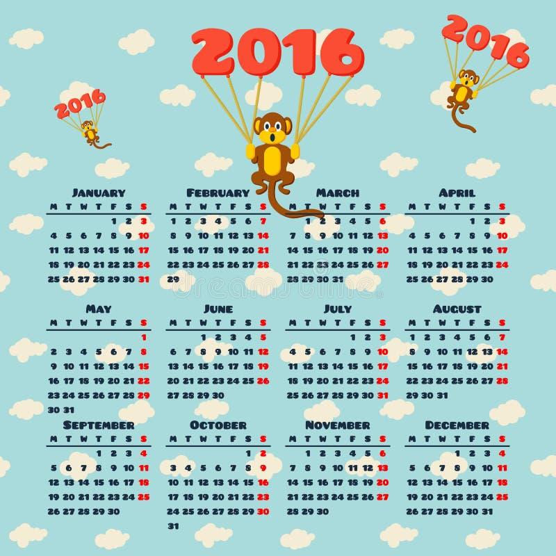 Календарь 2016 с обезьяной иллюстрация вектора