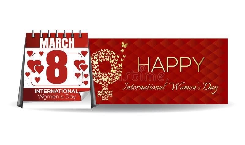 Календарь с праздничной датой, 8-ое марта Международный женский день бесплатная иллюстрация