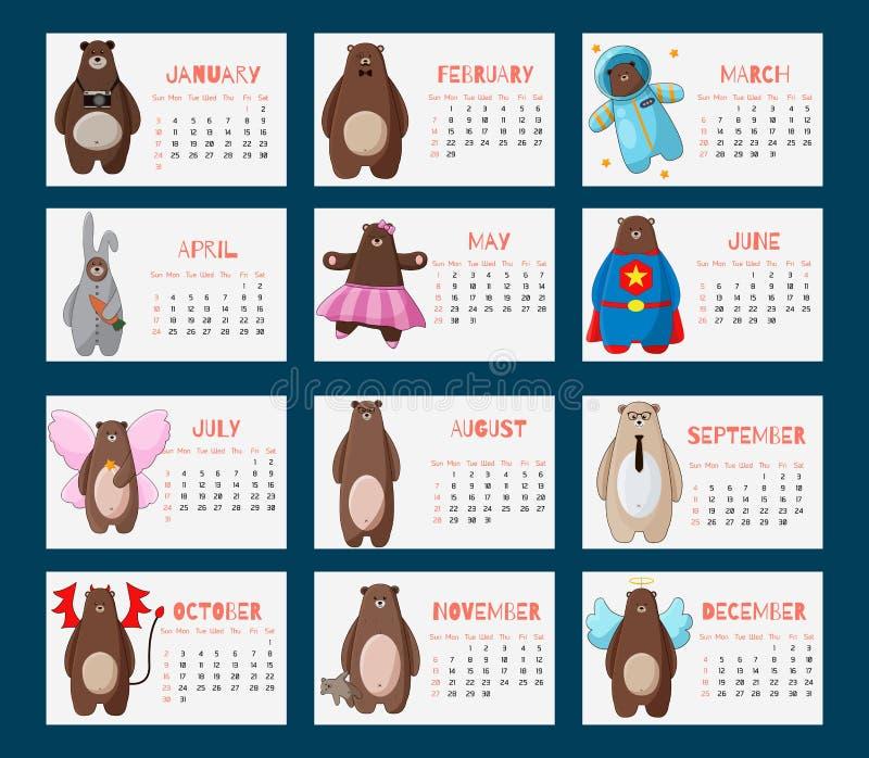 Календарь 2016 с смешными медведями битника шаржа иллюстрация вектора