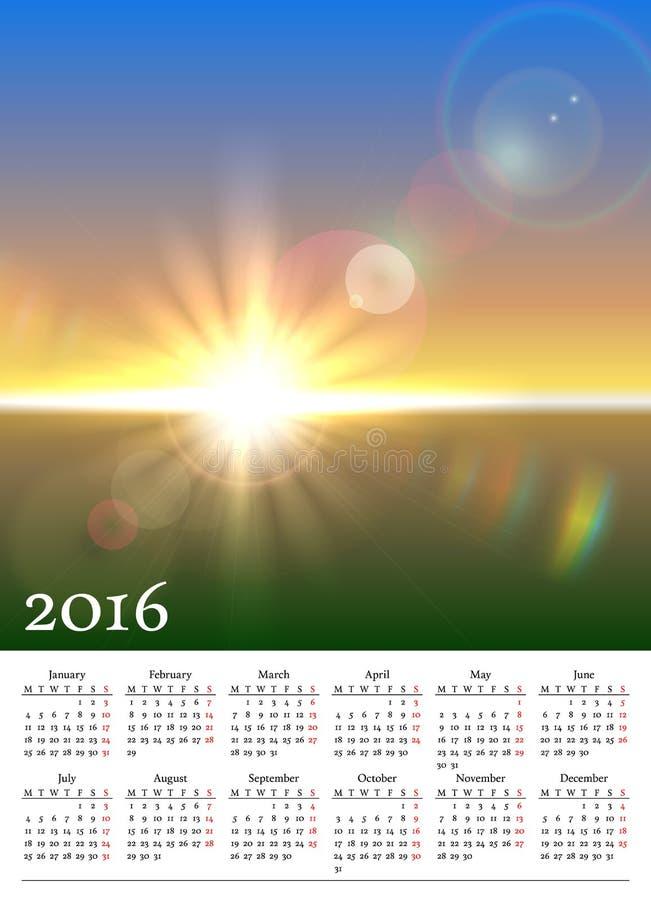Календарь 2016 с солнечным ландшафтом иллюстрация штока