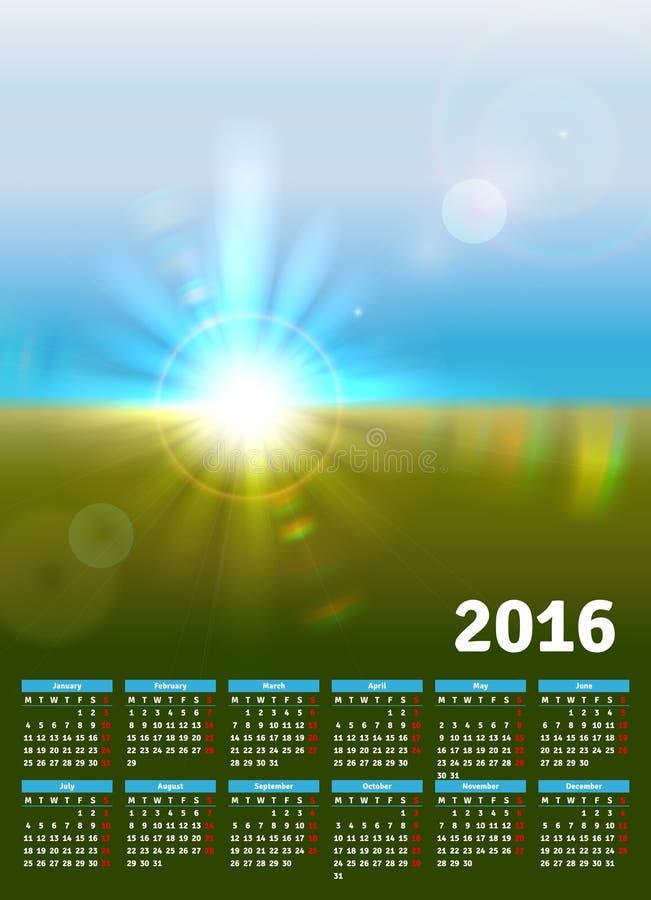 Календарь 2016 с солнечным ландшафтом бесплатная иллюстрация