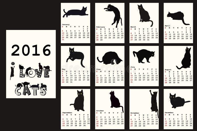 Календарь 2016 с черными котами бесплатная иллюстрация
