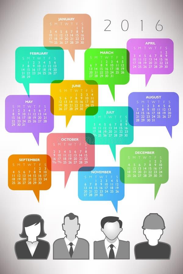 Календарь 2016 творческий людей значка иллюстрация вектора