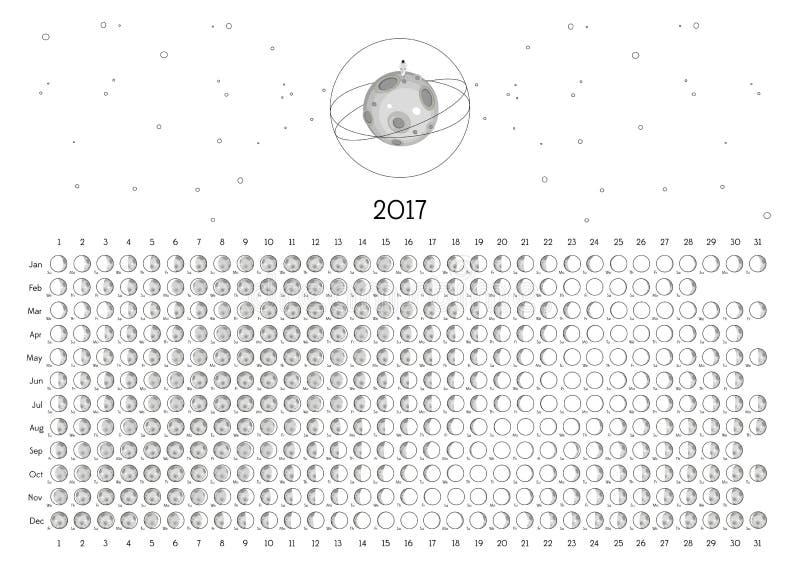 Календарь 2017 луны стоковые фото