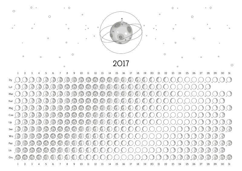 Календарь 2017 луны стоковые изображения