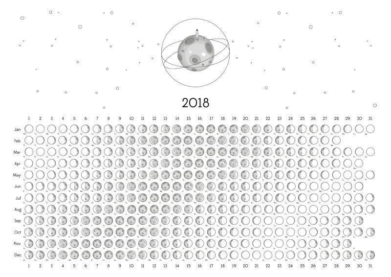 Календарь 2018 луны стоковые изображения rf