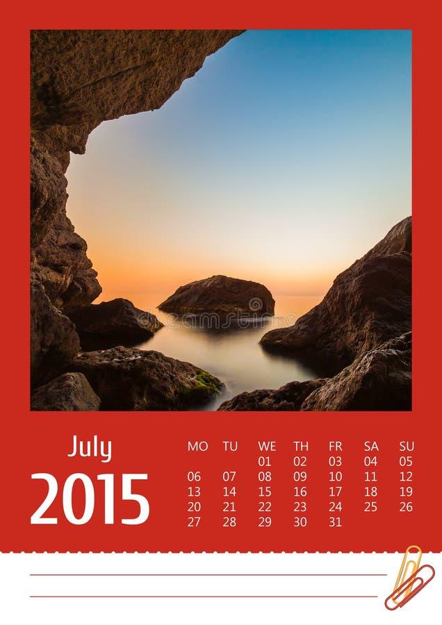 календарь 2015 фото июль стоковое изображение