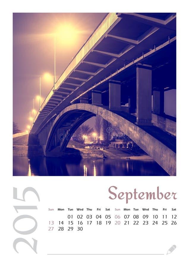 Календарь фото с минималистским городским пейзажем и мостом 2015 иллюстрация вектора