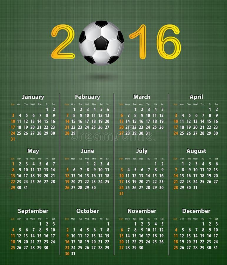 Календарь футбола на 2016 на зеленой linen текстуре иллюстрация штока