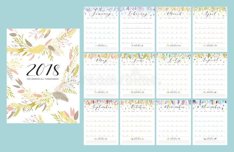 календарь 2018 цветков иллюстрация штока