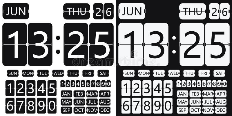 Календарь часов сальто иллюстрация вектора