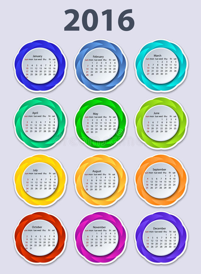 Календарь шаблон дизайна вектора 2016 год иллюстрация вектора