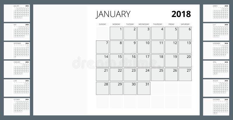 календарь 2018 Шаблон печати Неделя начинает воскресенье Ориентация портрета Комплект 12 месяцев Плановик на 2018 год иллюстрация штока