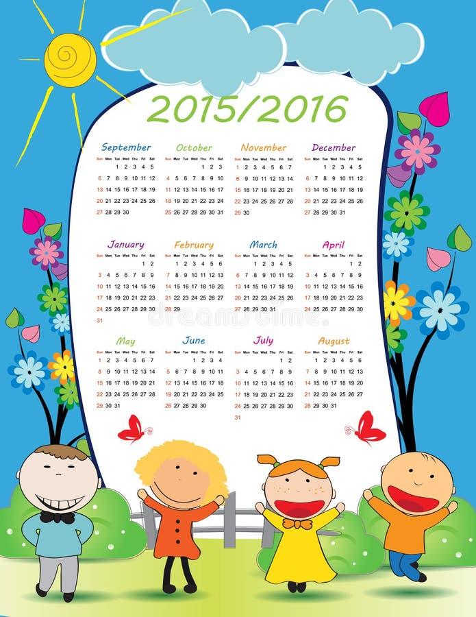 Календарь школы иллюстрация штока