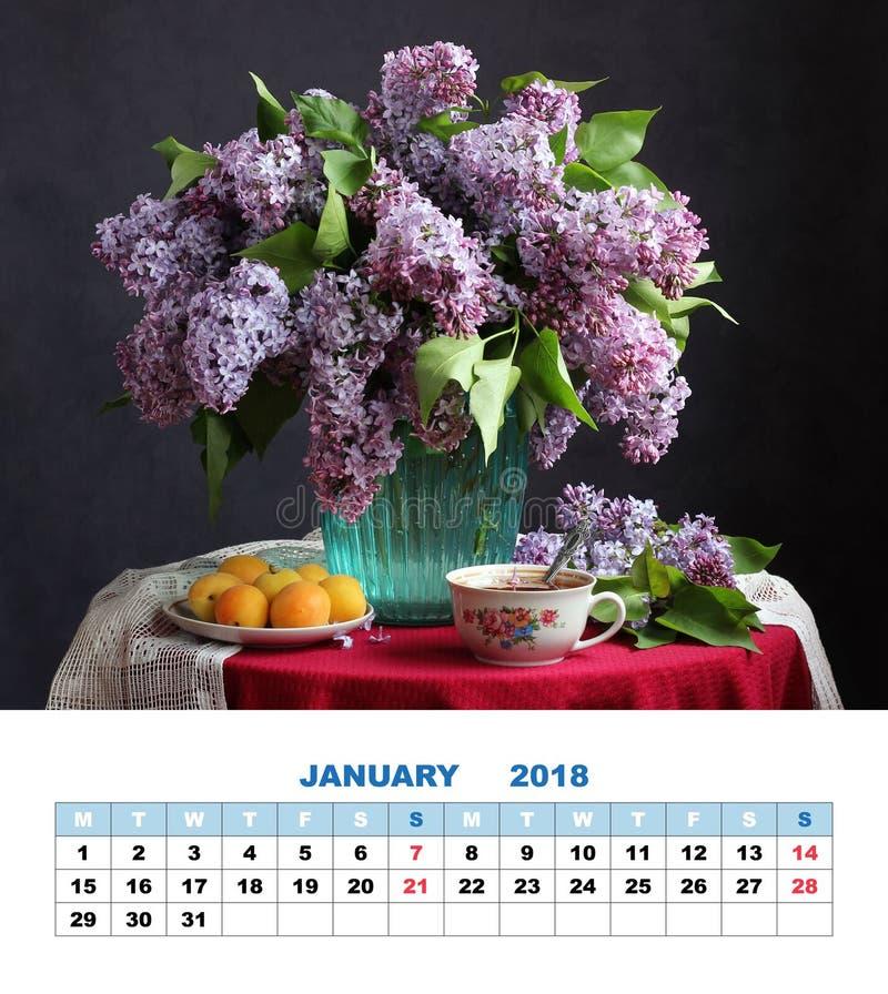 Календарь январь 2018 страницы дизайна студия съемки сиреней букета стоковое изображение