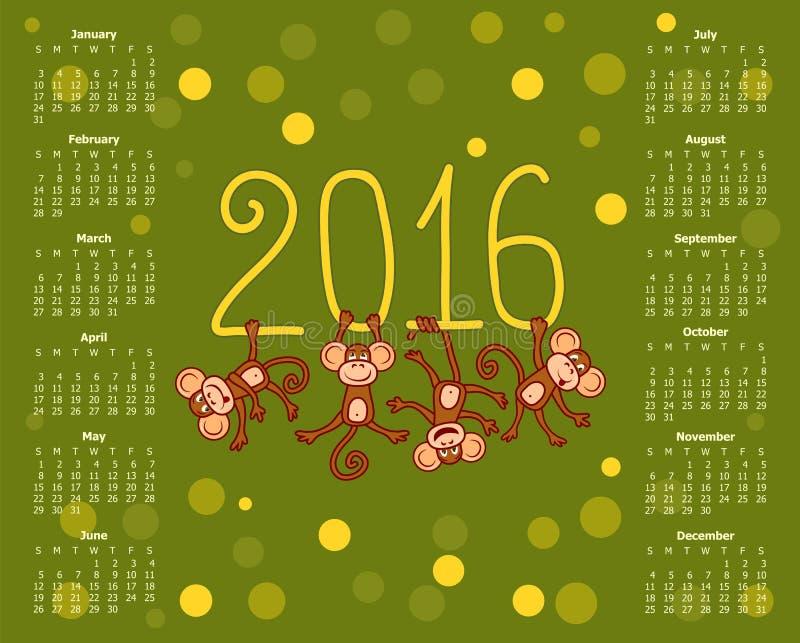 Календарь для 2016 смешных обезьян на зеленой предпосылке иллюстрация штока