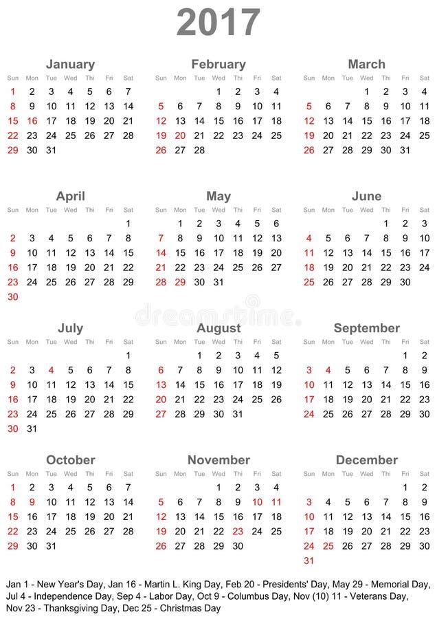 Календарь 2017 для США - неделя начинает в воскресенье бесплатная иллюстрация
