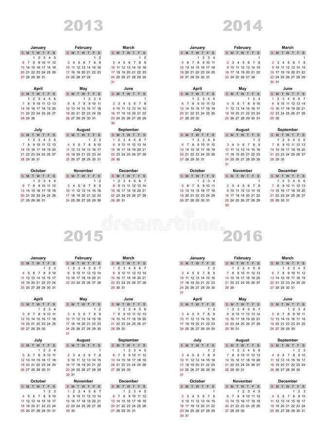 Календарь 2013,2014,2015,2016 бесплатная иллюстрация