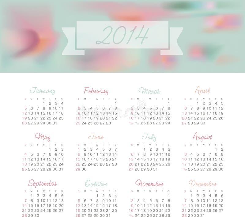 Календарь 2014 иллюстрация штока