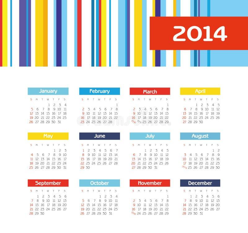Календарь 2014 иллюстрация вектора